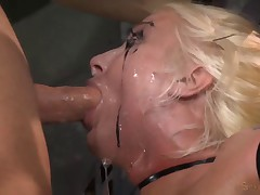 Big titted blonde ziptied onto a sybian
