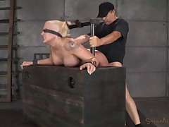 Tan Busty Blonde Gets Brutally Fucked