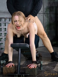 Pretty pale Ela Darling looks too refined to be bound down and stuffed full of of big dick...