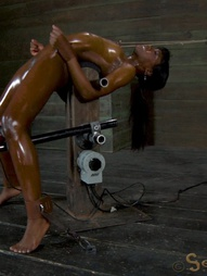 Ana Foxxx trapped in a brutal Bondage Device