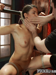 Mia Gold is brutally ass fucked and made to submit while being bound tightly in rope.