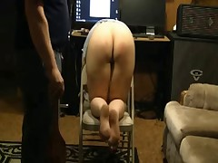 Spanking with heavy paddle