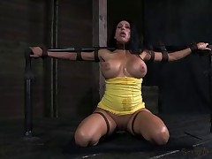 Booming E cup MILF tied up