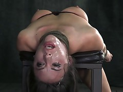 Bound, manhandled, worked over by 2 big dicks