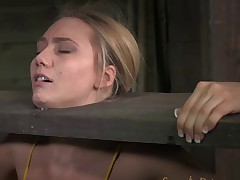 AJ Applegate shackled and blindfolded