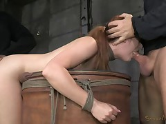 Redheaded bend over a barrel
