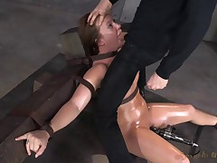 Restrained and throatboarded by 2 huge cocks